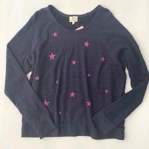 Sundry Fuschia Stars Sweatshirt Midnight Blue